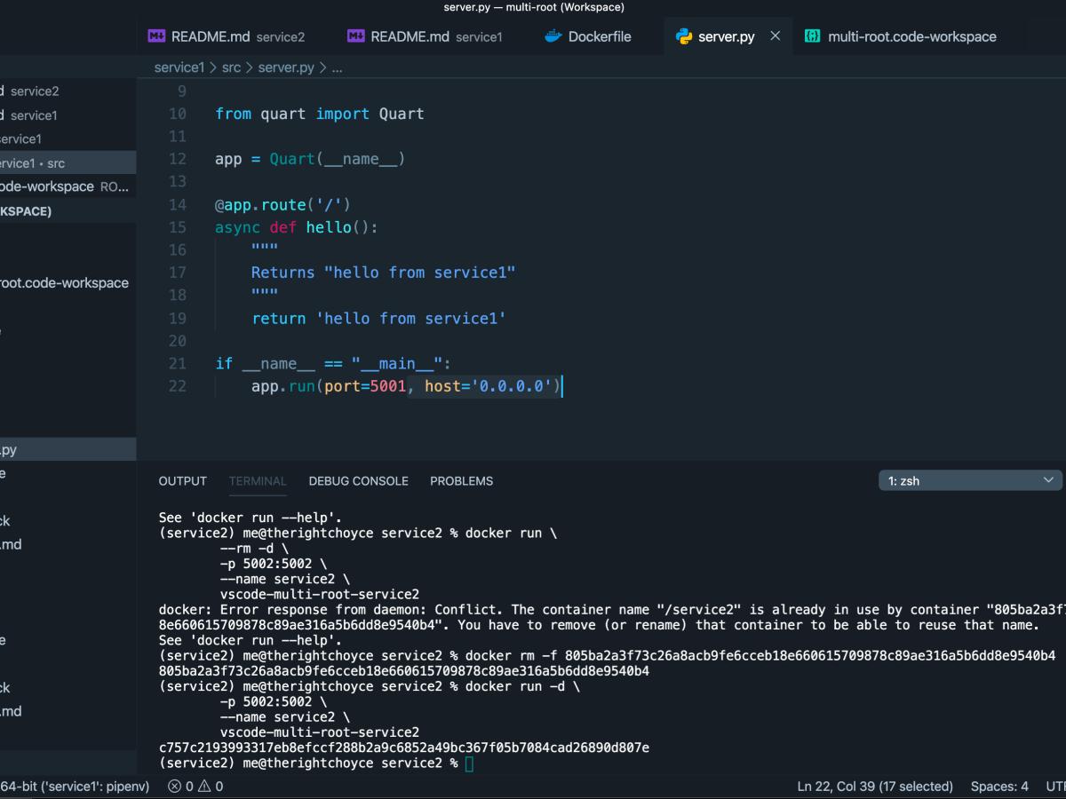 VS Code Screenshot of multi-root workspace in VS Code